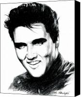 Black Drawings Canvas Prints - Elvis Canvas Print by Lin Petershagen