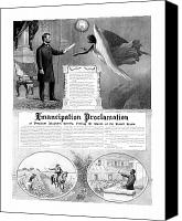 American History Mixed Media Canvas Prints - Emancipation Proclamation Canvas Print by War Is Hell Store