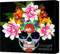Mexican  Sculpture Canvas Prints - Embroidery Sugar Skull Mask Canvas Print by Mitza Hurst
