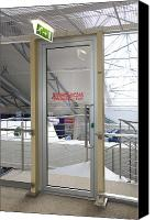 Airport Concourse Canvas Prints - Emergency Exit at an Airport Canvas Print by Jaak Nilson