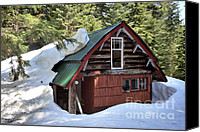 Log Cabin Mixed Media Canvas Prints - Emerging Cabin Canvas Print by Bill  Thomson