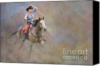 Equine Pastels Canvas Prints - Emerging Canvas Print by Susan Candelario