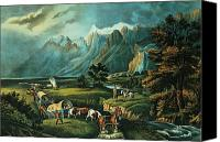 Pioneers Painting Canvas Prints - Emigrants Crossing the Plains Canvas Print by Currier and Ives