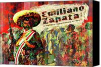 Impressionism Digital Art Canvas Prints - Emiliano Zapata Inmortal Canvas Print by Dean Gleisberg
