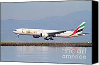 Airways Canvas Prints - Emirates Airline Jet Airplane At San Francisco International Airport SFO . 7D12100 Canvas Print by Wingsdomain Art and Photography