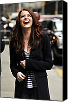 Appearance Canvas Prints - Emma Stone At Talk Show Appearance Canvas Print by Everett