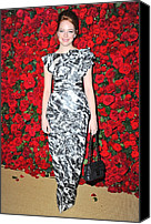 Abstract Handbag Canvas Prints - Emma Stone Wearing A Chanel Dress Canvas Print by Everett