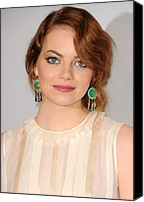Wavy Hair Canvas Prints - Emma Stone Wearing Irene Neuwirth Canvas Print by Everett