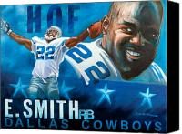 Dallas Cowboys Canvas Prints - Emmit Smith HOF Canvas Print by Jim Wetherington