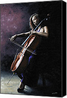 Long Hair Canvas Prints - Emotional Cellist Canvas Print by Richard Young