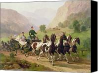 Cart Driving Canvas Prints - Emperor Franz Joseph I of Austria being driven in his carriage with his wife Elizabeth of Bavaria I Canvas Print by Austrian School