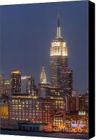 Manhattan Canvas Prints - Empire State and Chrysler Buildings at Twilight Canvas Print by Clarence Holmes