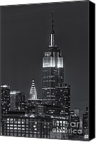 Manhattan Canvas Prints - Empire State and Chrysler Buildings at Twilight IV Canvas Print by Clarence Holmes