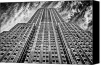 Long Street Canvas Prints - Empire State Building Black and White Canvas Print by John Farnan