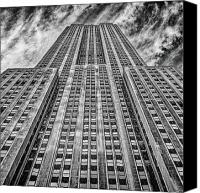Long Street Canvas Prints - Empire State Building Black and White Square Format Canvas Print by John Farnan