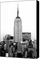 Empire Photo Canvas Prints - Empire State Building BW Canvas Print by John Rizzuto