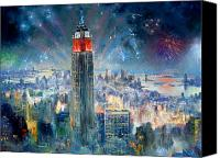 Empire Painting Canvas Prints - Empire State Building in 4th of July Canvas Print by Ylli Haruni