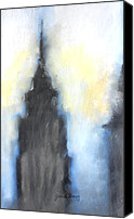 Modern Architecture Drawings Canvas Prints - Empire State Building in pastels Canvas Print by Janel Bragg
