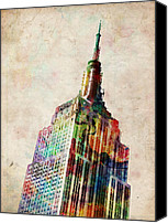 Cities Digital Art Canvas Prints - Empire State Building Canvas Print by Michael Tompsett