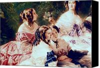 Pretty Painting Canvas Prints - Empress Eugenie and her Ladies in Waiting Canvas Print by Franz Xaver Winterhalter