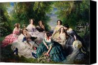 Upper Canvas Prints - Empress Eugenie Surrounded by her Ladies in Waiting Canvas Print by Franz Xaver Winterhalter