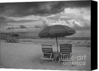 Beach Chairs Canvas Prints - Emptiness Canvas Print by Jeff Breiman