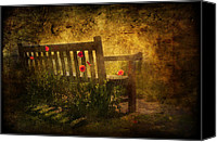 Picturesque Mixed Media Canvas Prints - Empty Bench and Poppies Canvas Print by Svetlana Sewell