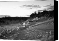 Black And White Pyrography Canvas Prints - Empty Chair at Montauk Beach Canvas Print by Rosemary Hawkins