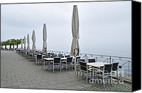 Tables Canvas Prints - Empty promenade in the early morning Canvas Print by Matthias Hauser
