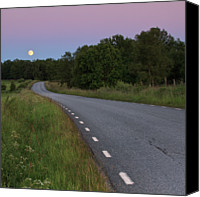 Full Moon Canvas Prints - Empty Road In Countryside Landscape Canvas Print by Jens Ceder Photography