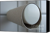 Bathrooms Canvas Prints - Empty toilet paper roll Canvas Print by Matthias Hauser