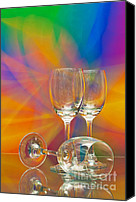 Black Glass Art Canvas Prints - Empty Wine Glass Canvas Print by Anuwat Ratsamerat