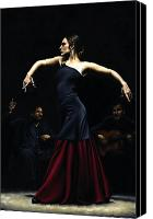 Dancer Painting Canvas Prints - Encantado por Flamenco Canvas Print by Richard Young