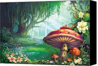 Mushroom Mixed Media Canvas Prints - Enchanted Forest Canvas Print by Philip Straub