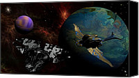 Alien Planets Canvas Prints - Encounter Canvas Print by David Lane