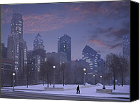 Chicago Skyline Digital Art Canvas Prints - End of a day Canvas Print by Jim Wright