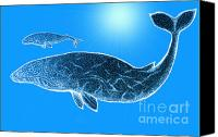 Sea Animals Mixed Media Canvas Prints - Endangered Gray Whales Canvas Print by Nick Gustafson