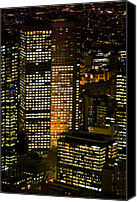 Success Photo Canvas Prints - Energy Hungry Office Towers Illuminate Canvas Print by Jason Edwards