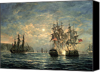 Engagement Painting Canvas Prints - Engagement Between the Bonhomme Richard and the  Serapis off Flamborough Head Canvas Print by Richard Willis
