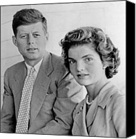 1950s Fashion Canvas Prints - Engagement Portrait Of John Kennedy Canvas Print by Everett