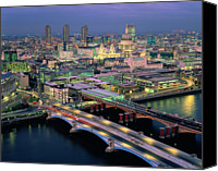 Arch Bridge Canvas Prints - England,london,blackfriars Bridge, St.pauls And The City,dusk Canvas Print by Ary Diesendruck