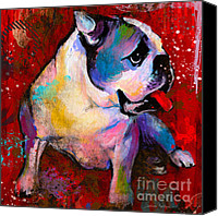 Austin Mixed Media Canvas Prints - English American Pop Art Bulldog print painting Canvas Print by Svetlana Novikova