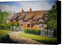Norfolk Painting Canvas Prints - English Cottage Canvas Print by Shirley Braithwaite Hunt