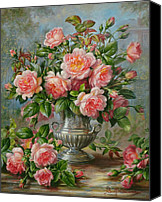 Williams Painting Canvas Prints - English Elegance Roses in a Silver Vase Canvas Print by Albert Williams