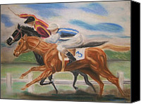 Two Pastels Canvas Prints - English Horse Race Canvas Print by Nancy Rucker