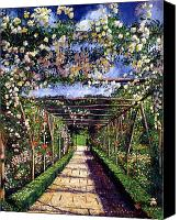 Gardens Canvas Prints - English Rose Trellis Canvas Print by David Lloyd Glover