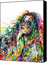 Black  Mixed Media Canvas Prints - Enigma Canvas Print by Callie Fink