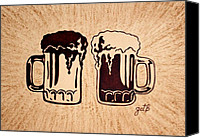 Black Painting Special Promotions - Enjoying Beer Canvas Print by Georgeta  Blanaru