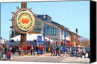 Crowd Scene Canvas Prints - Enjoying The Day At Fishermans Wharf San Francisco California . 7D14220 Canvas Print by Wingsdomain Art and Photography