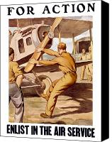 Vintage Canvas Prints - Enlist In The Air Service Canvas Print by War Is Hell Store
